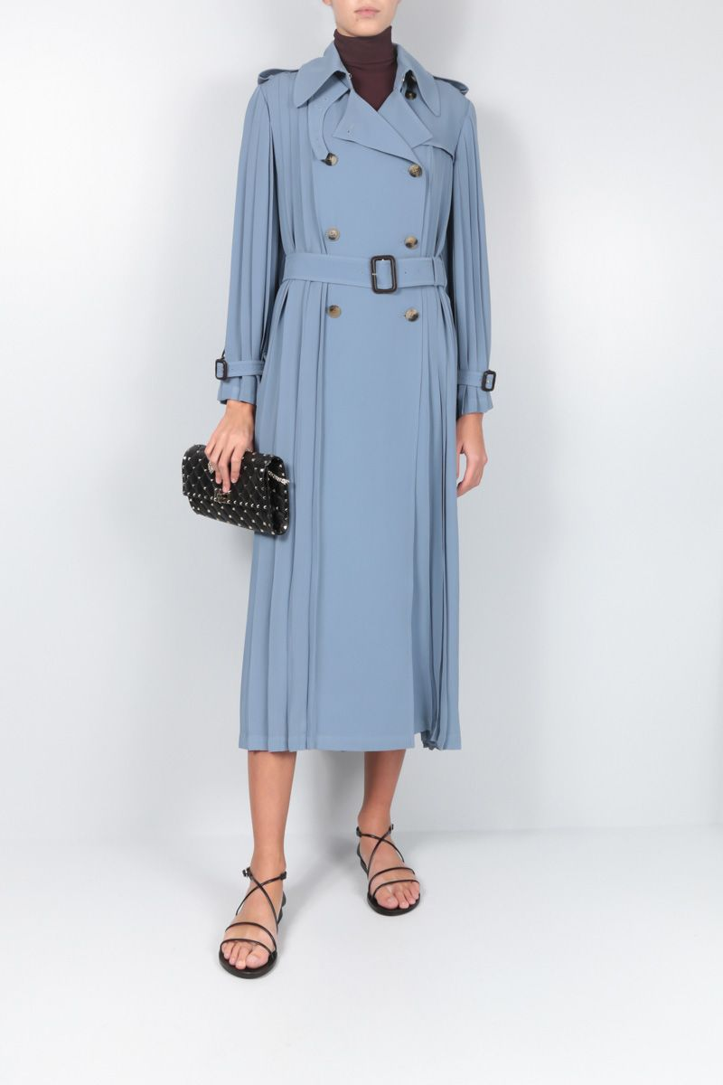 VALENTINO: pleated georgette trench coat Color Blue_2