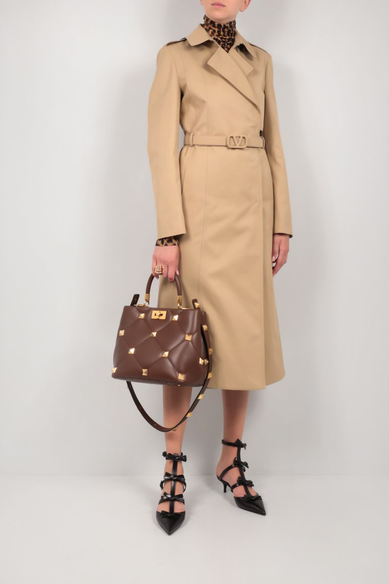 VALENTINO: double-breasted gabardine trench coat with VLogo belt Color Neutral_2