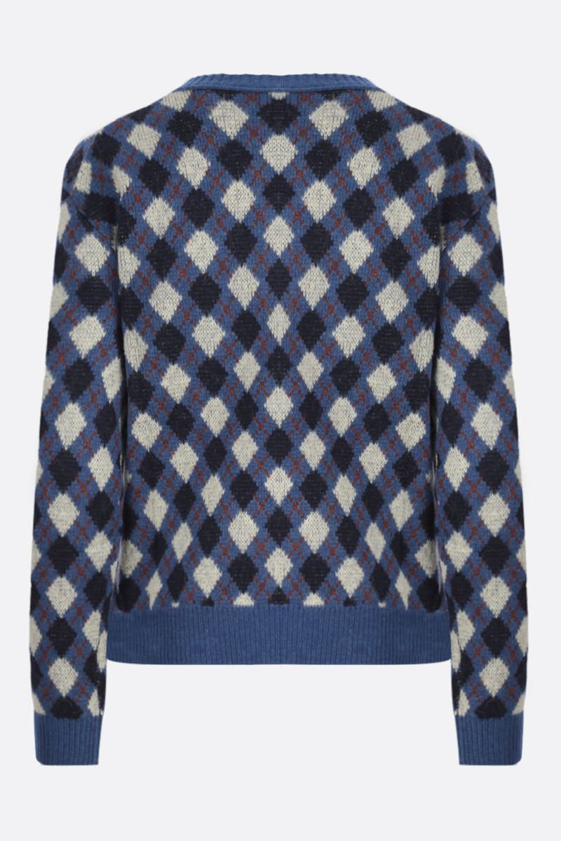 WALES BONNER: pullover Williams in misto lana a rombi Colore Blue_2