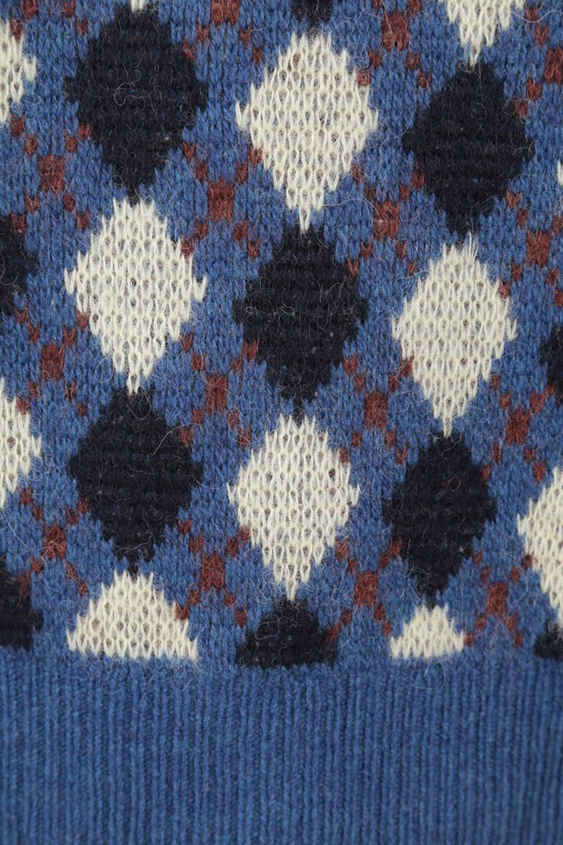 WALES BONNER: pullover Williams in misto lana a rombi Colore Blue_3