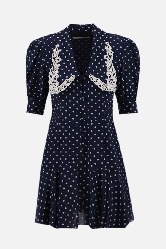 ALESSANDRA RICH: lace collar-detailed silk minidress Color Blue_1