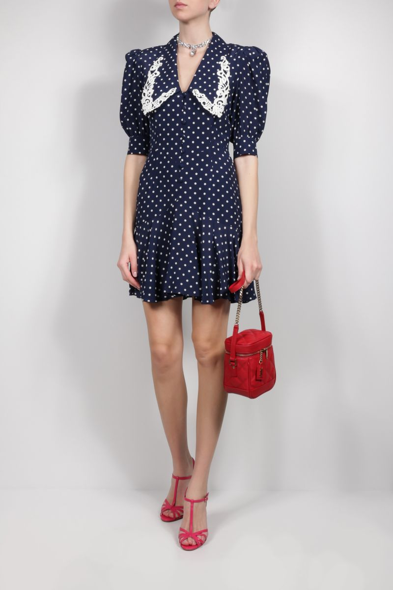 ALESSANDRA RICH: lace collar-detailed silk minidress Color Blue_2