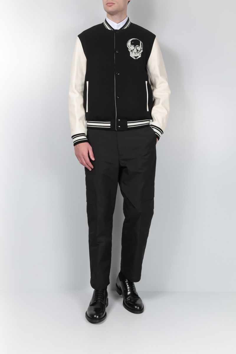 ALEXANDER McQUEEN: wool bomber jacket with leather sleeves Color White_2