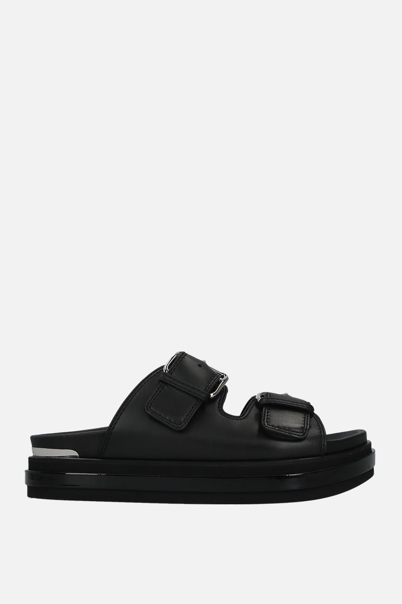 ALEXANDER McQUEEN: smooth leather flatform sandals Color Black_1