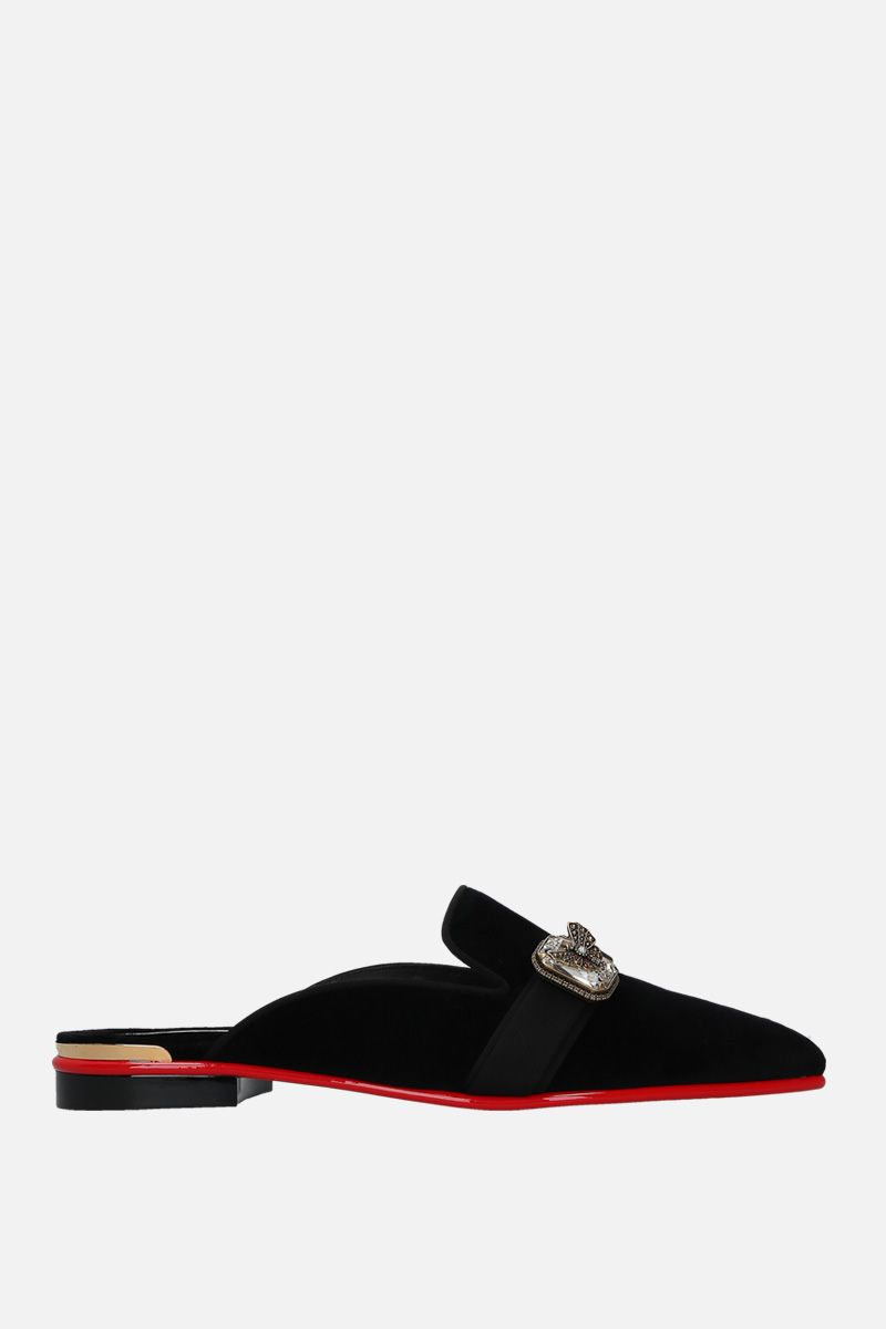 ALEXANDER McQUEEN: jewel-detailed velvet slippers Color Black_1
