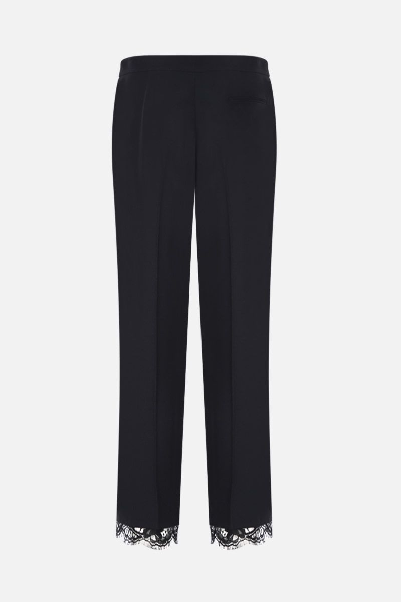 ALEXANDER McQUEEN: cady cropped pants with lace hem Color Black_2