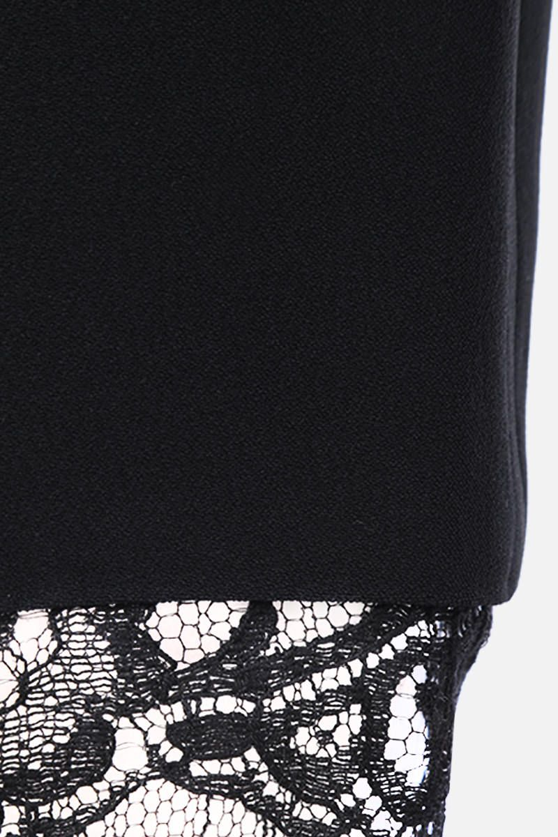 ALEXANDER McQUEEN: cady cropped pants with lace hem Color Black_3