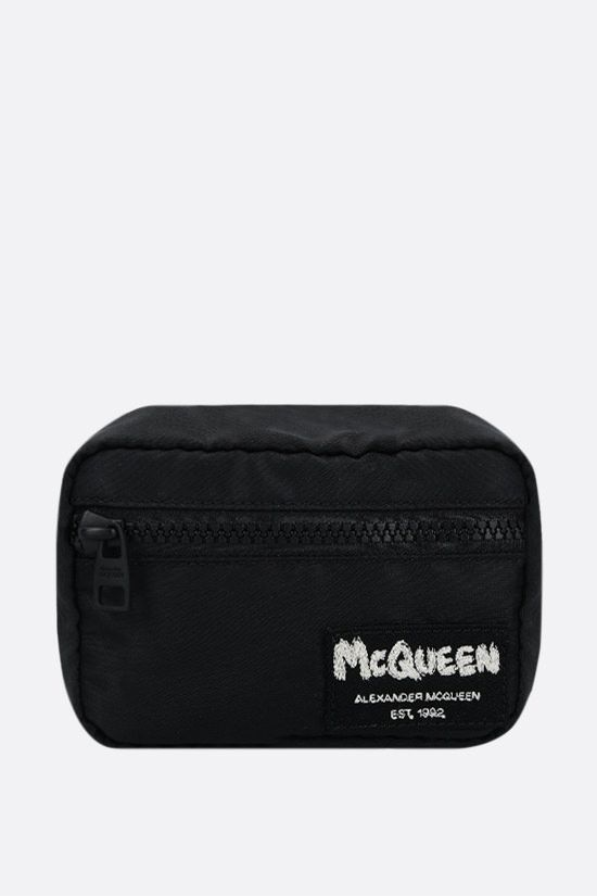 ALEXANDER McQUEEN: McQueen Tag nylon mini pouch Color Black_1