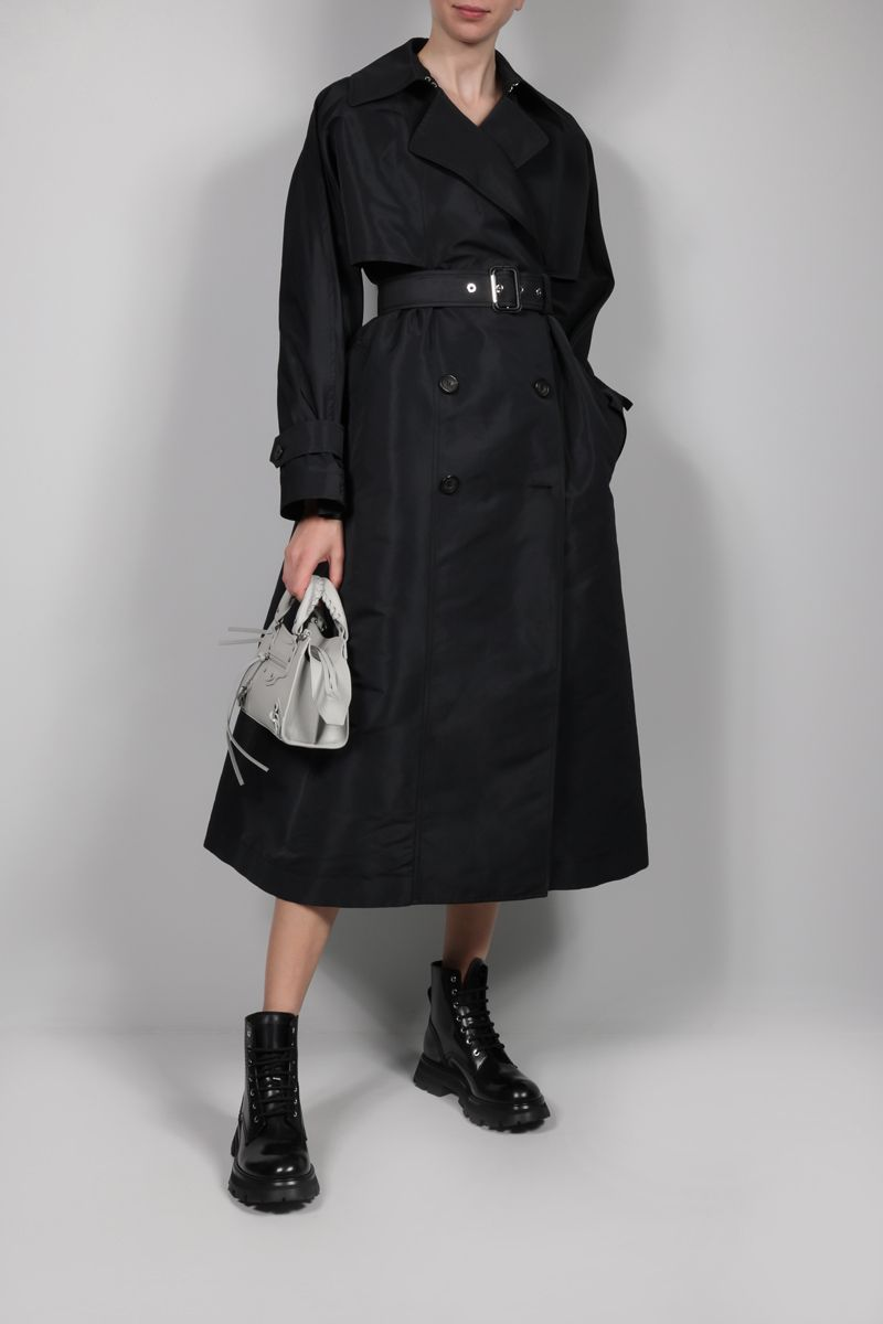ALEXANDER McQUEEN: oversize double-breasted nylon trench coat Color Black_2