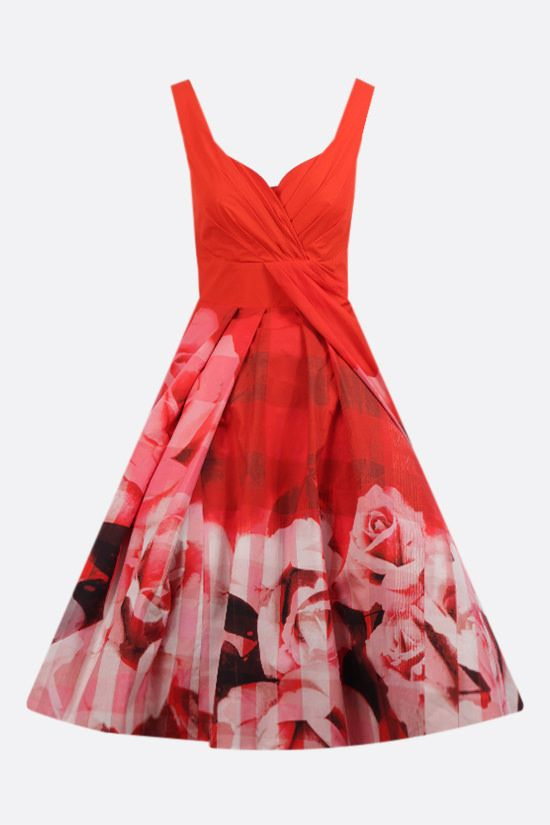 ALEXANDER McQUEEN: rose check cotton midi dress Color Red_1