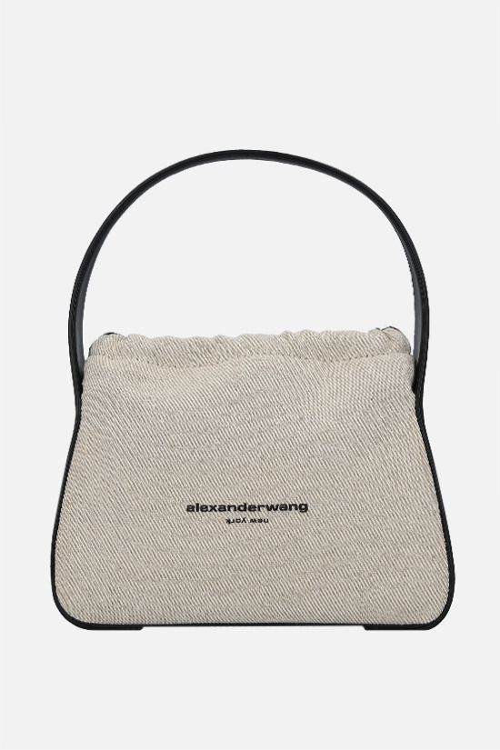 ALEXANDER WANG: Ryan small canvas and smooth leather handag Color Neutral_1