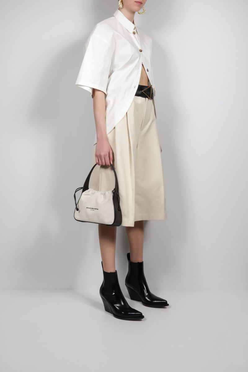 ALEXANDER WANG: Ryan small canvas and smooth leather handag Color Neutral_2