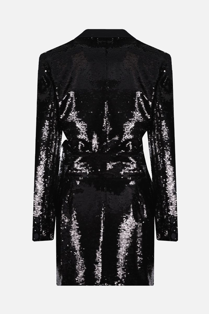 ALEXANDRE VAUTHIER: sequinned fabric and satin jacket minidress Color Black_2