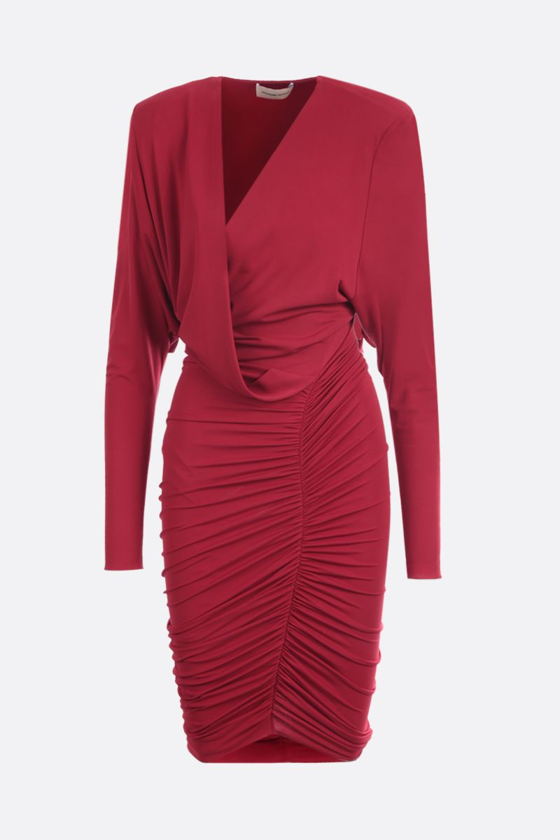 ALEXANDRE VAUTHIER: stretch jersey draped short dress Color Red_1