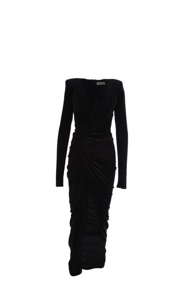 ALEXANDRE VAUTHIER: velvet and lurex long dress Color Black_1