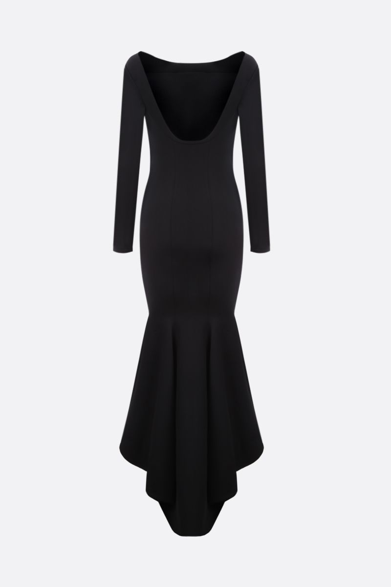 ALEXANDRE VAUTHIER: asymmetric hem-detailed stretch knit long dress Color Black_2