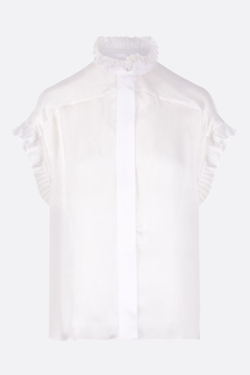 ALEXANDRE VAUTHIER: silk chiffon shirt with pleated ruches Color White_1