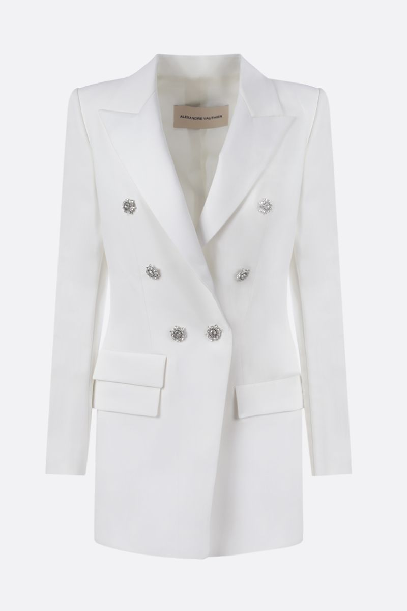 ALEXANDRE VAUTHIER: jewel button-detailed crepe double-breasted jacket Color White_1