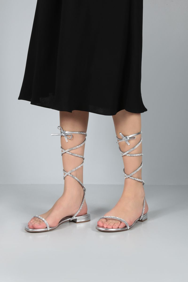 ALEXANDRE VAUTHIER: Amina laminated leather flat sandals Color Silver_2