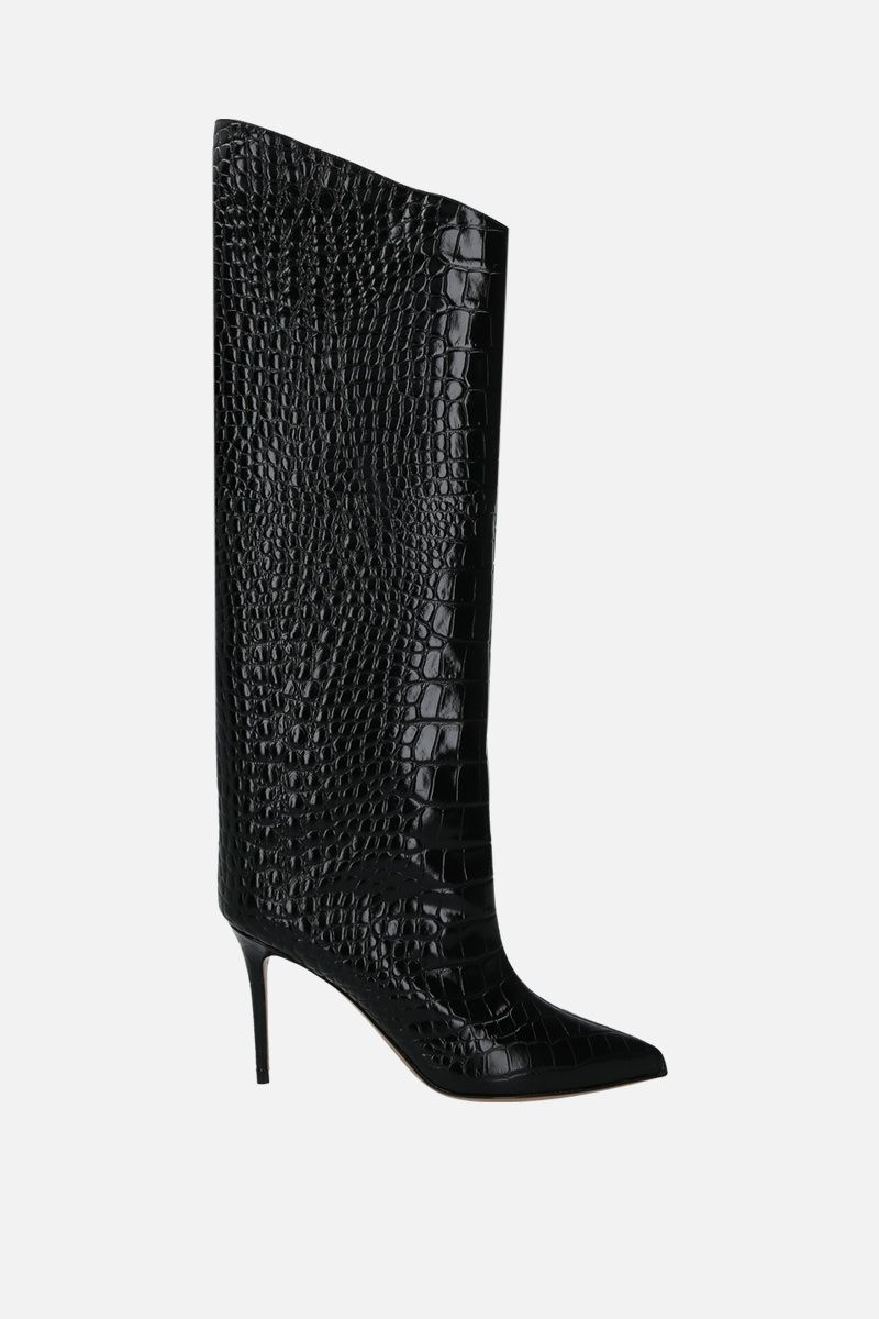 ALEXANDRE VAUTHIER: Alex crocodile embossed leather boots Color Black_1