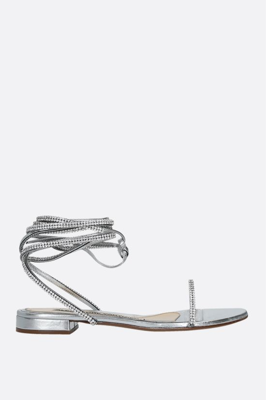 ALEXANDRE VAUTHIER: Amina laminated leather flat sandals Color Silver_1