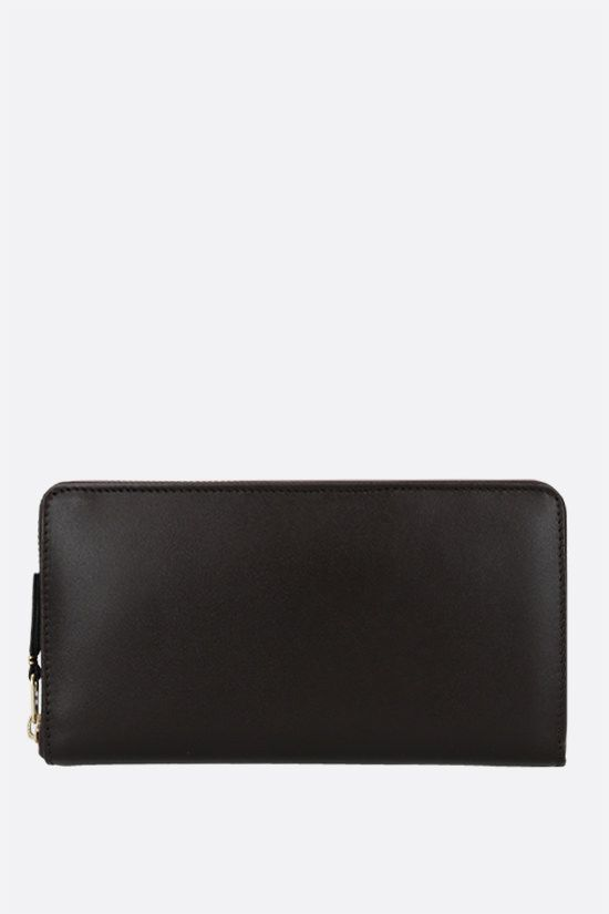 COMME des GARCONS WALLET: smooth leather zip-around wallet Color Brown_1