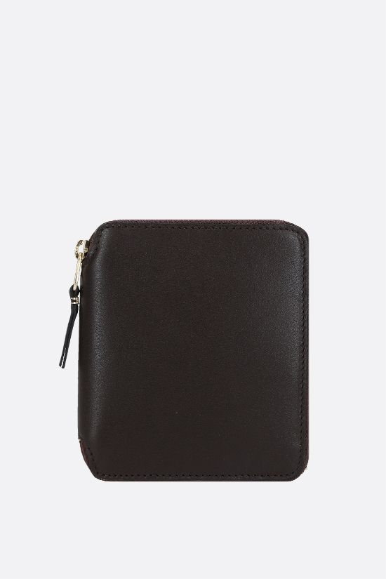 COMME des GARCONS WALLET: smooth leather small zip-around wallet Color Brown_1