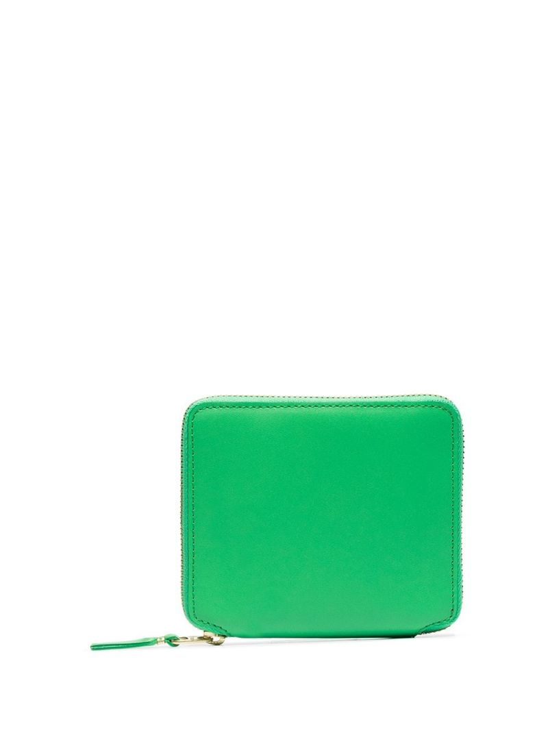 COMME des GARCONS WALLET: smooth leather small zip-around wallet Color Green_1