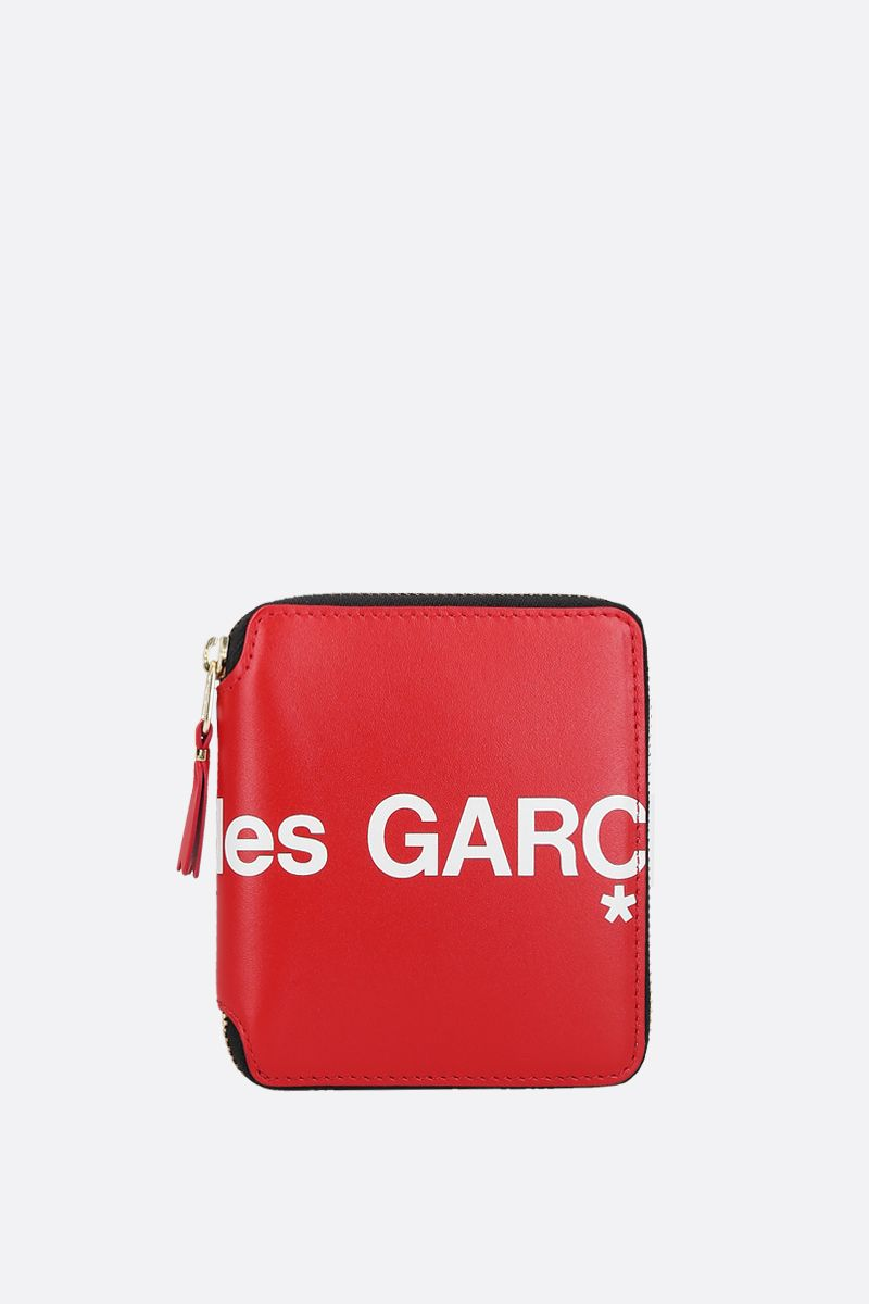 COMME des GARCONS WALLET: logo print smooth leather small zip-around wallet Color Red_1