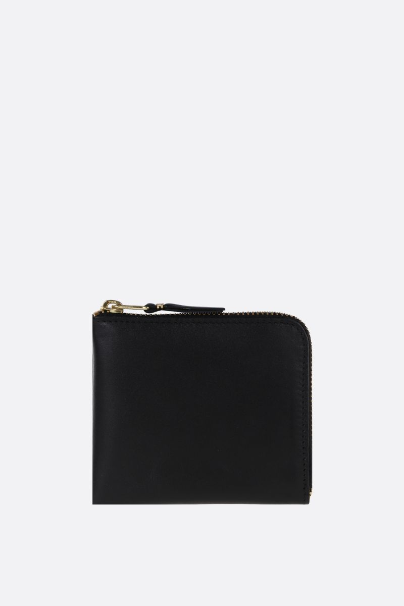 COMME des GARCONS WALLET: smooth leather half-zip wallet Color Black_1