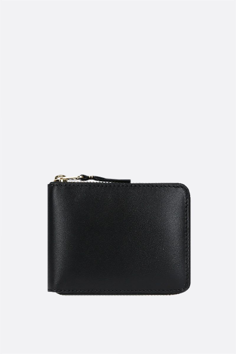 COMME des GARCONS WALLET: smooth leather small zip-around wallet Color Black_1