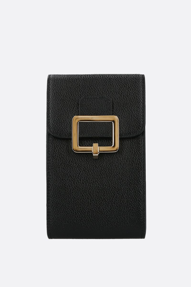 BALLY: porta smartphone Jyllian in pelle martellata Colore Nero_1