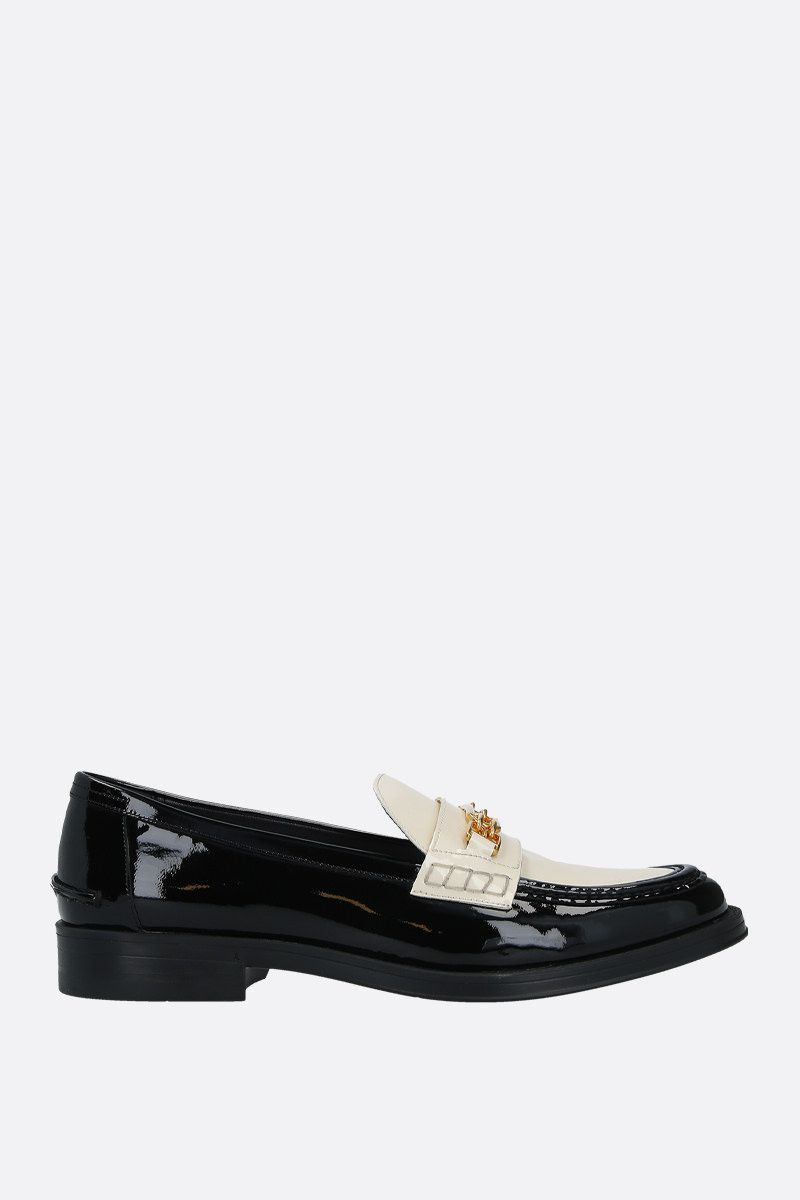 BALLY: Elodie bicolour patent leather loafers Color Black_1