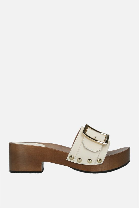 BALLY: Ellin smooth leather platform sandals Color Neutral_1
