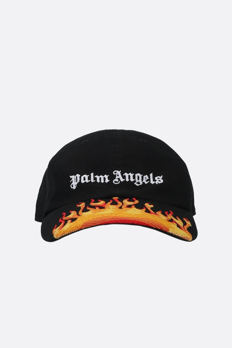 PALM ANGELS: Burning gabardine baseball cap Color Black_1