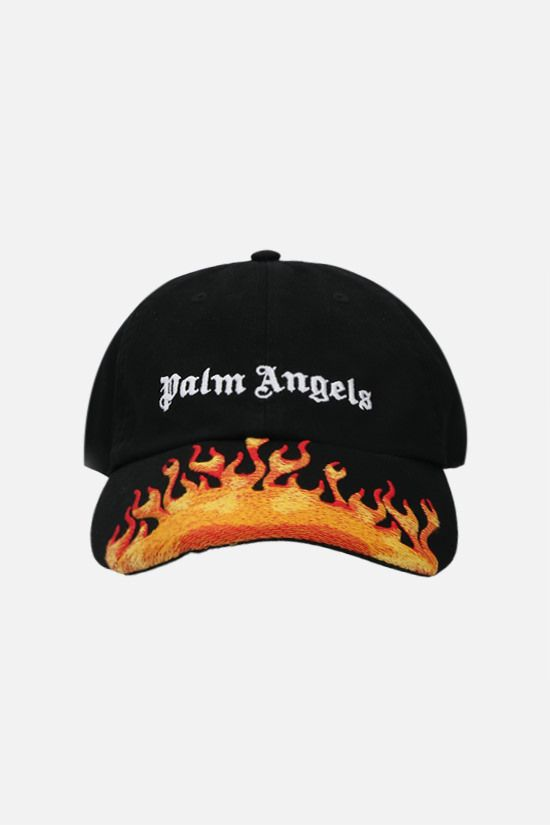 PALM ANGELS: Burning cotton baseball cap Color Black_1