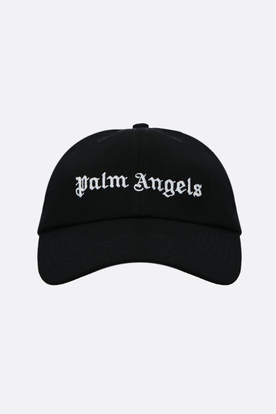 PALM ANGELS: logo embroidered cotton baseball cap Color Black_1