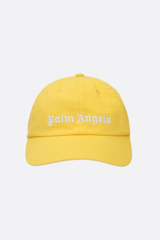 PALM ANGELS: logo embroidered cotton baseball cap Color Yellow_1