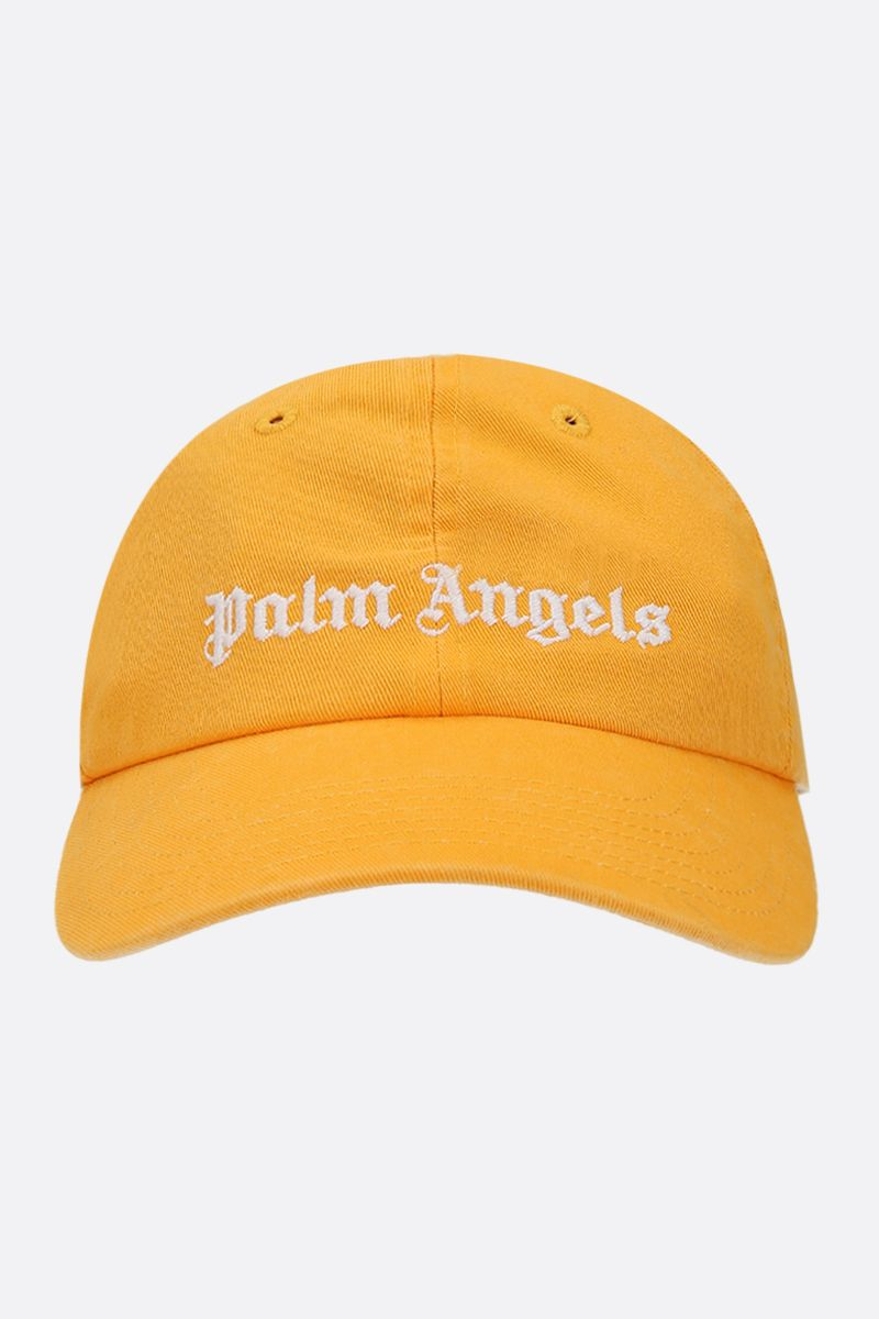PALM ANGELS: logo embroidered canvas baseball cap_1