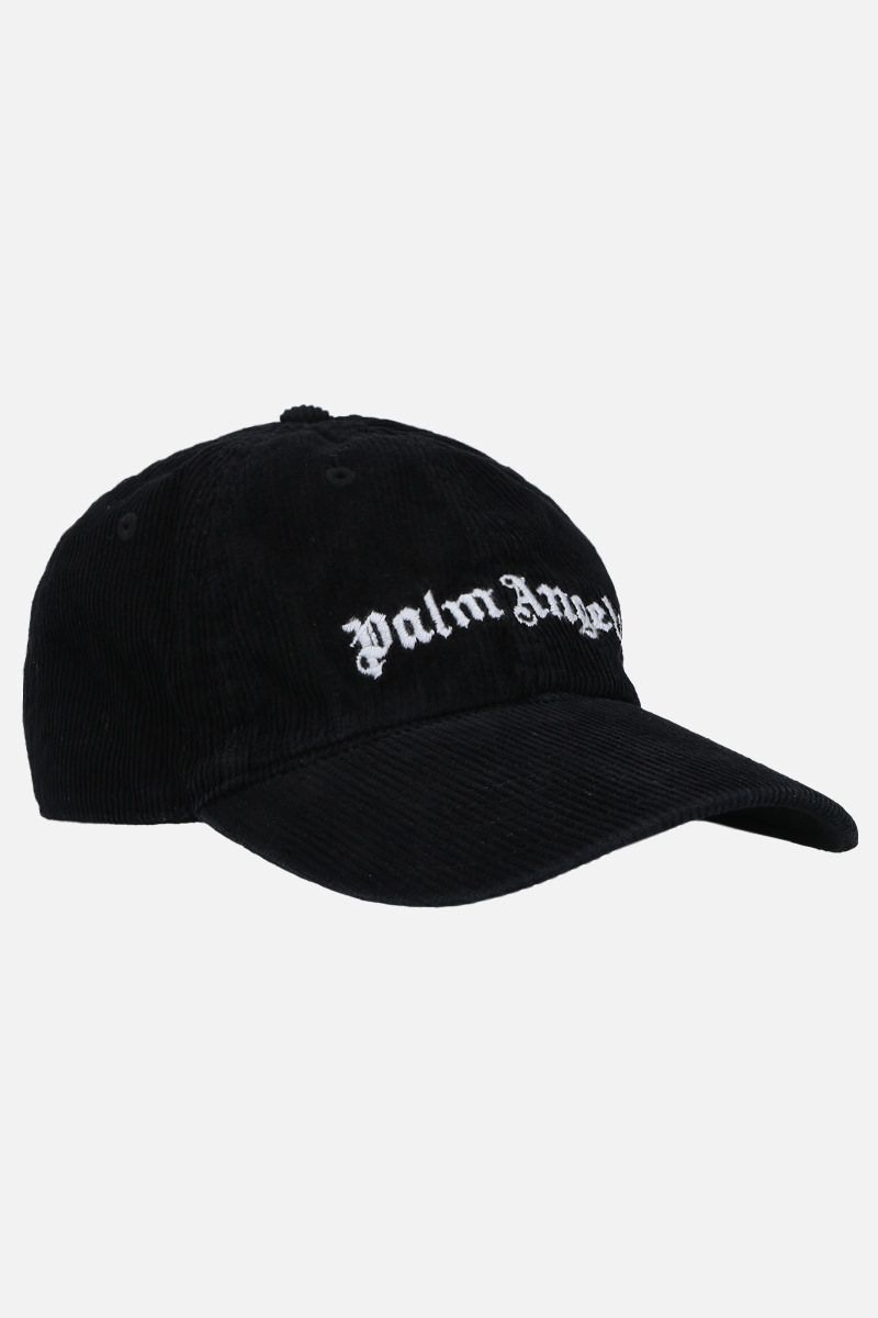 PALM ANGELS: Classic Logo ribbed velvet baseball cap Color Black_2