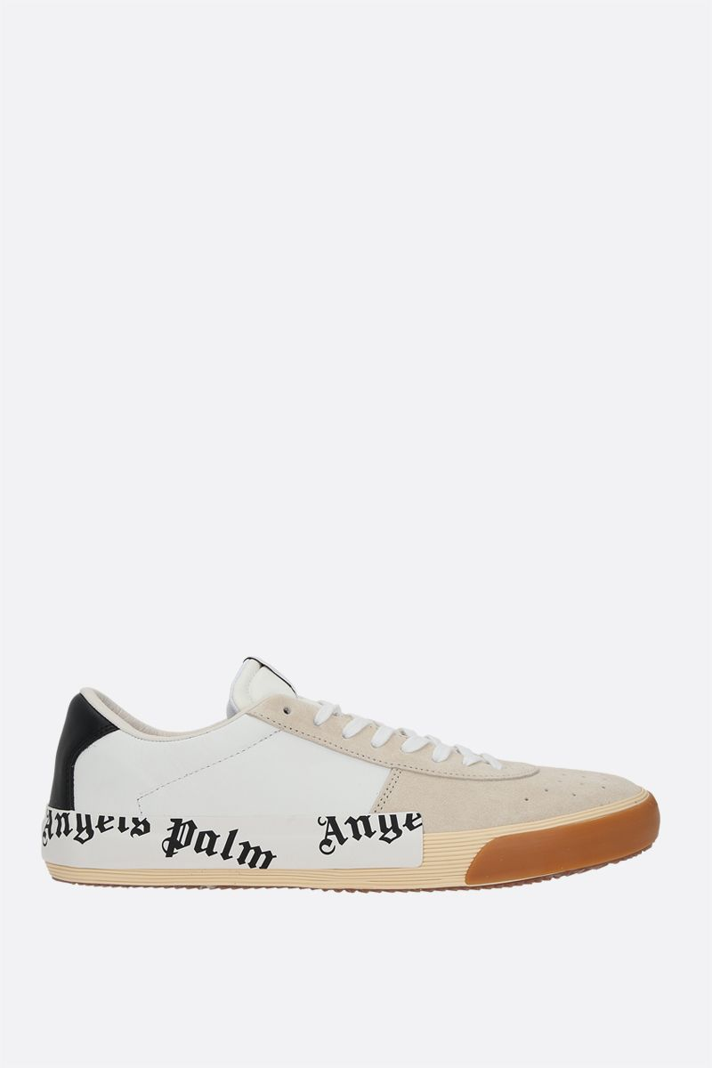 PALM ANGELS: Vulcanized suede and smooth leather sneakers Color White_1
