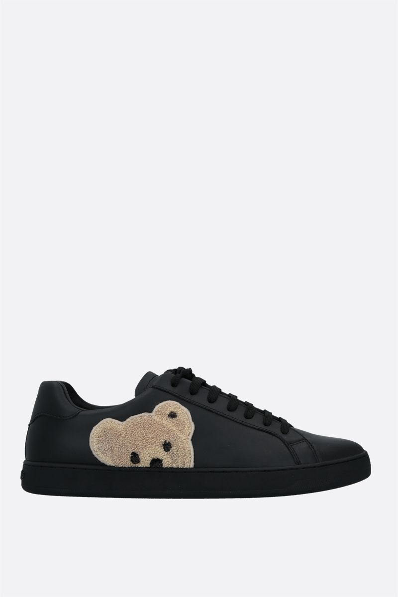 PALM ANGELS: New Teddy Bear smooth leather sneakers Color Black_1