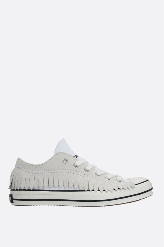 PALM ANGELS: Fringe stretch knit and suede sneakers Color White_1
