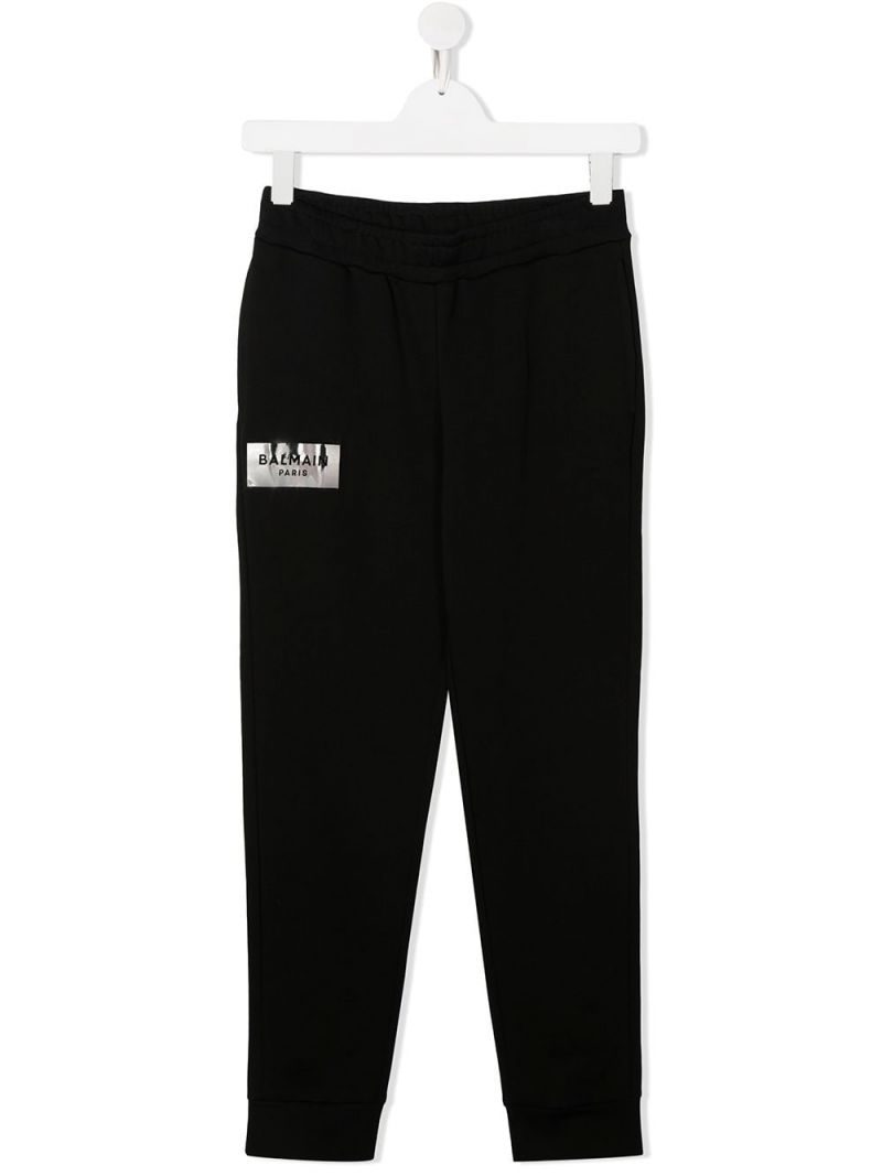 BALMAIN KIDS: logo print cotton joggers Color Black_1