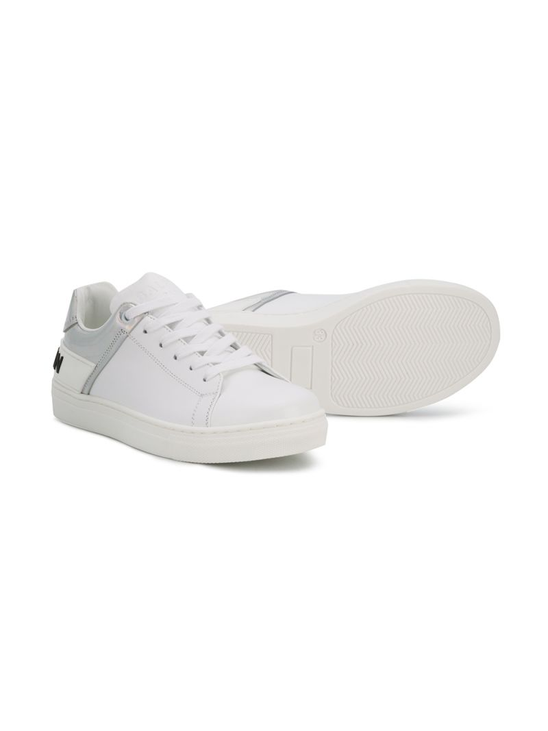 BALMAIN KIDS: logo-detailed smooth leather sneakers Color White_2