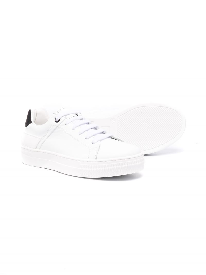 BALMAIN KIDS: smooth leather sneakers Color White_2