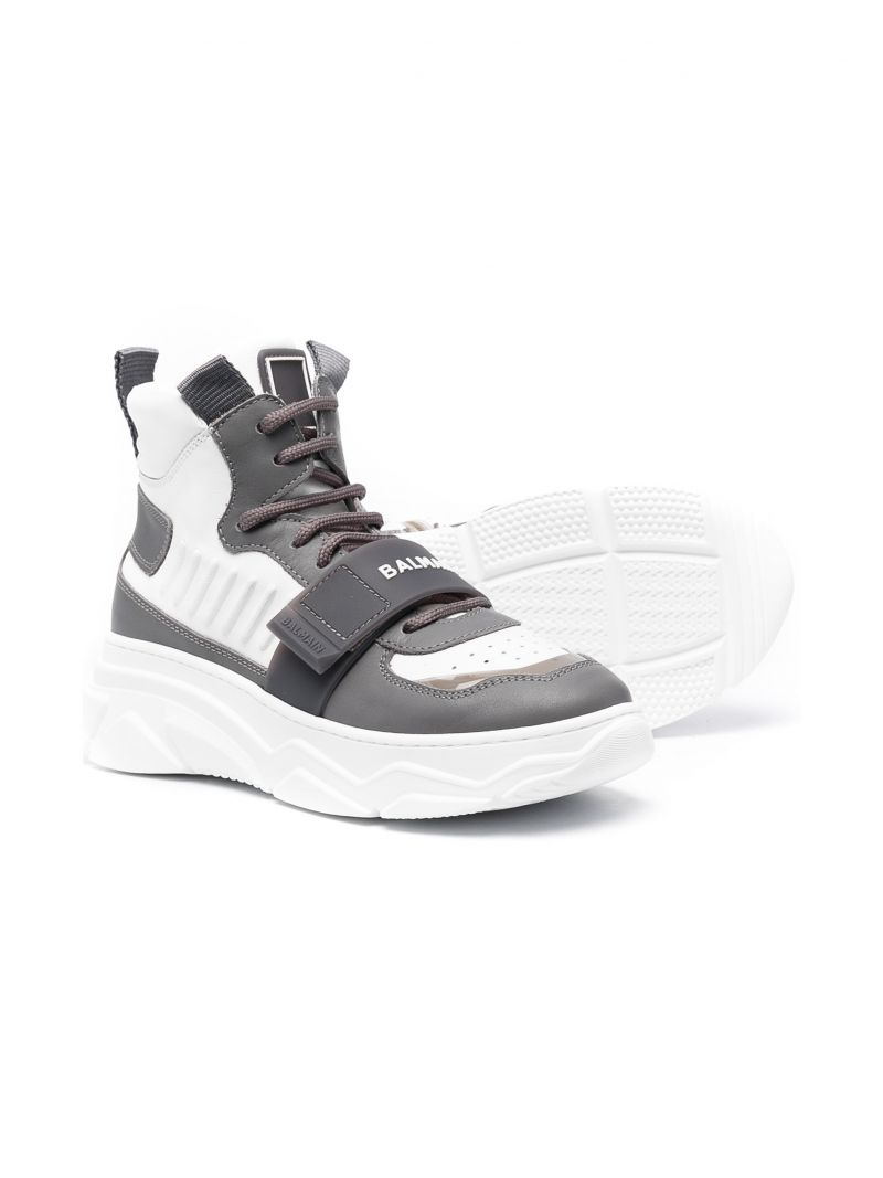 BALMAIN KIDS: smooth leather high-top sneakers Color White_2