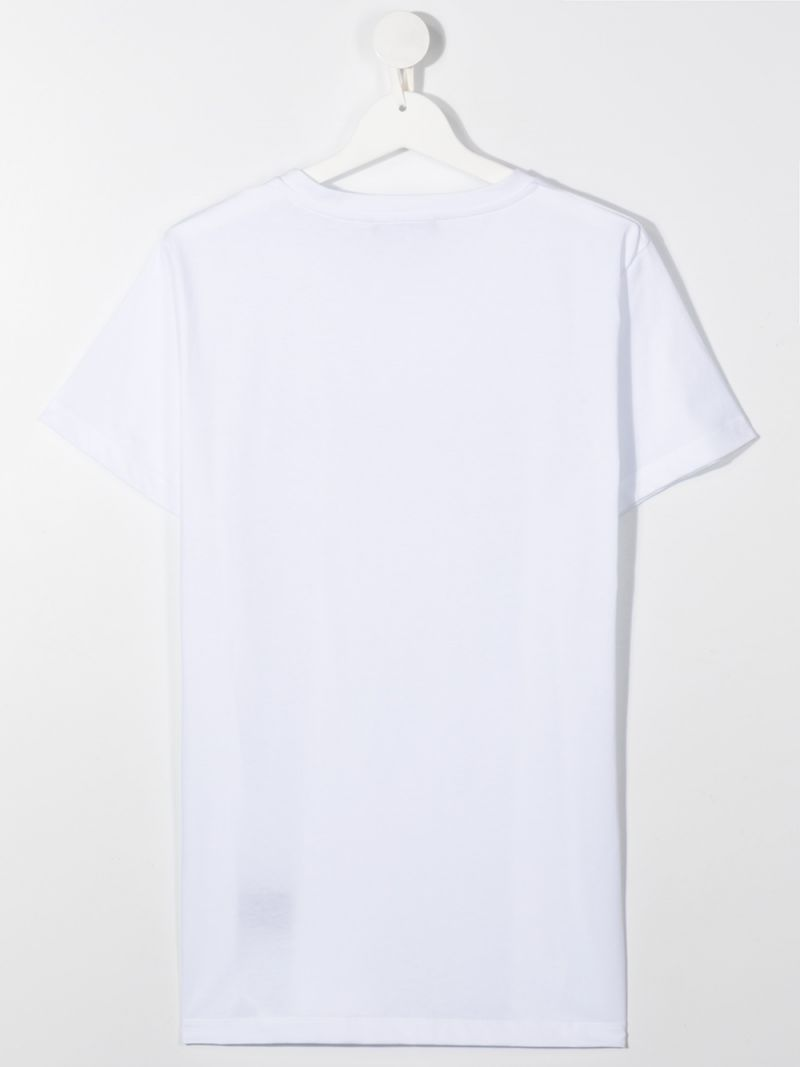 BALMAIN KIDS: Balmain logo print cotton t-shirt Color White_2