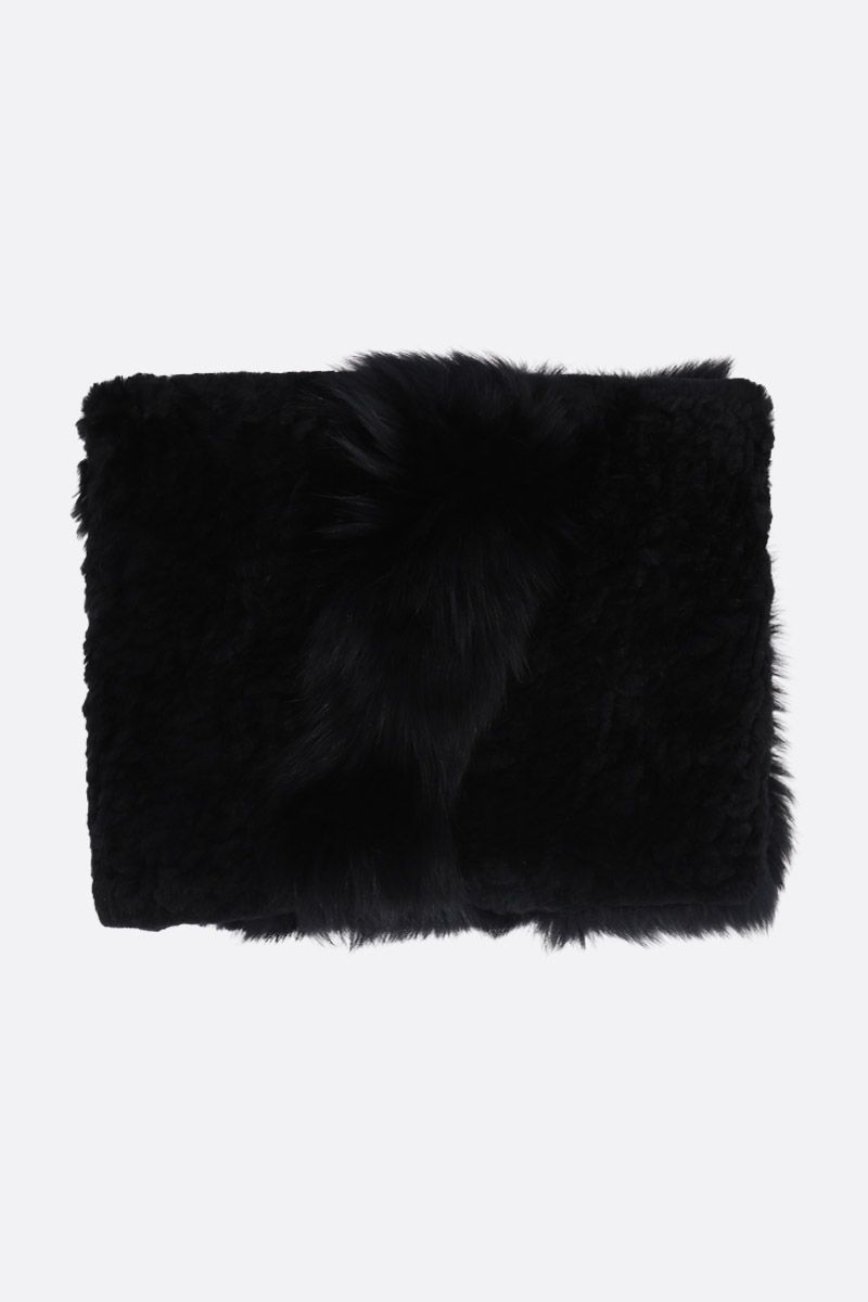 YVES SALOMON: lapin and fur snood Color Black_1