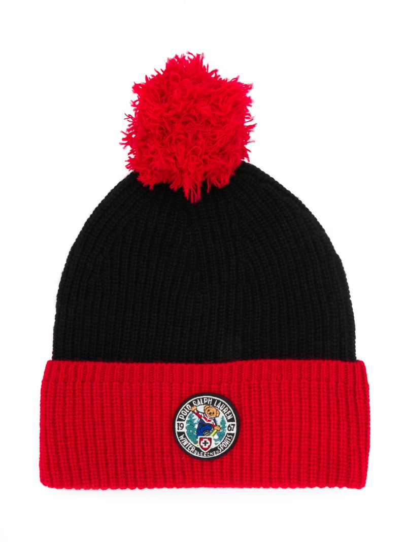 RALPH LAUREN KIDS: Winter Sports patch wool blend beanie Color Black_1